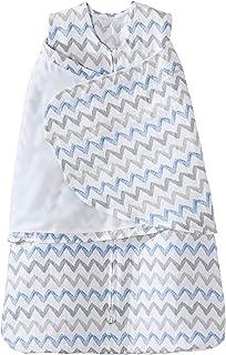 HALO 赫拉 婴儿睡袋 双层纱棉 印花包裹式 蓝灰波纹 S(3-6个月) 春夏薄款
