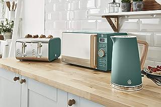 Swan Nordic 套装 早餐 电水壶 1.7 升 2200 W 宽槽 吐司机 4 片微波炉 20 升 数字设计 现代 木质外观 * 哑光