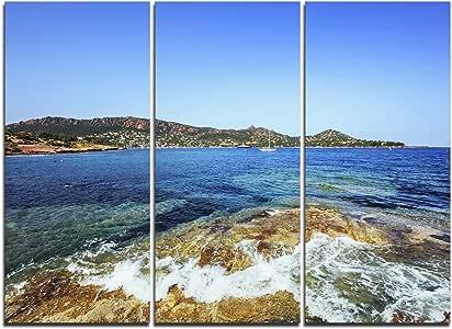 """设计艺术 MT10978-20-12 """"Agay Bay in Esterel Rocks Beach 超大尺寸海滩""""金属壁画,红色 红色 36x28"""" - 3 Panels MT10978-3P"""