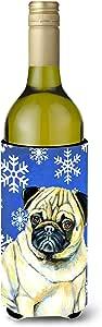 Caroline's Treasures LH9297 家长哈巴狗冬季雪花假日超饮料隔热器 适合纤细罐 LH9297MUK,多色 多种颜色 750 ml LH9297LITERK
