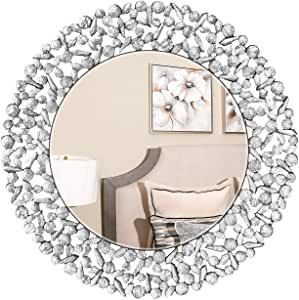 "KOHROS 大号古董墙面镜华丽玻璃框架威尼斯装饰镜面卧室、浴室、客厅 Sliver 31.5""Cricle"