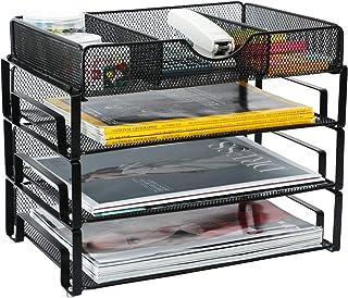 Samstar 可叠放信件托盘,3 层桌面文件整理整理纸分拣器,带 1 个额外的抽屉网格,黑色