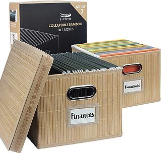 精美文件盒收纳盒 2 件套 - 可折叠竹制文件柜,便于存放文件夹 - 存放您所有的文件和文件袋