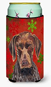 German Shorthaired Pointer Red Snowflakes Holiday Christmas Michelob Ultra Koozies for slim cans SC9435MUK 多色 Tall Boy