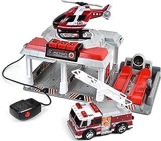 火线救援车 – 儿童灯光和声音玩具套装 | 通过开关式停车车库和车辆升降工作对讲机 | 玩具套装包括直升机和带摩擦马达的消防车