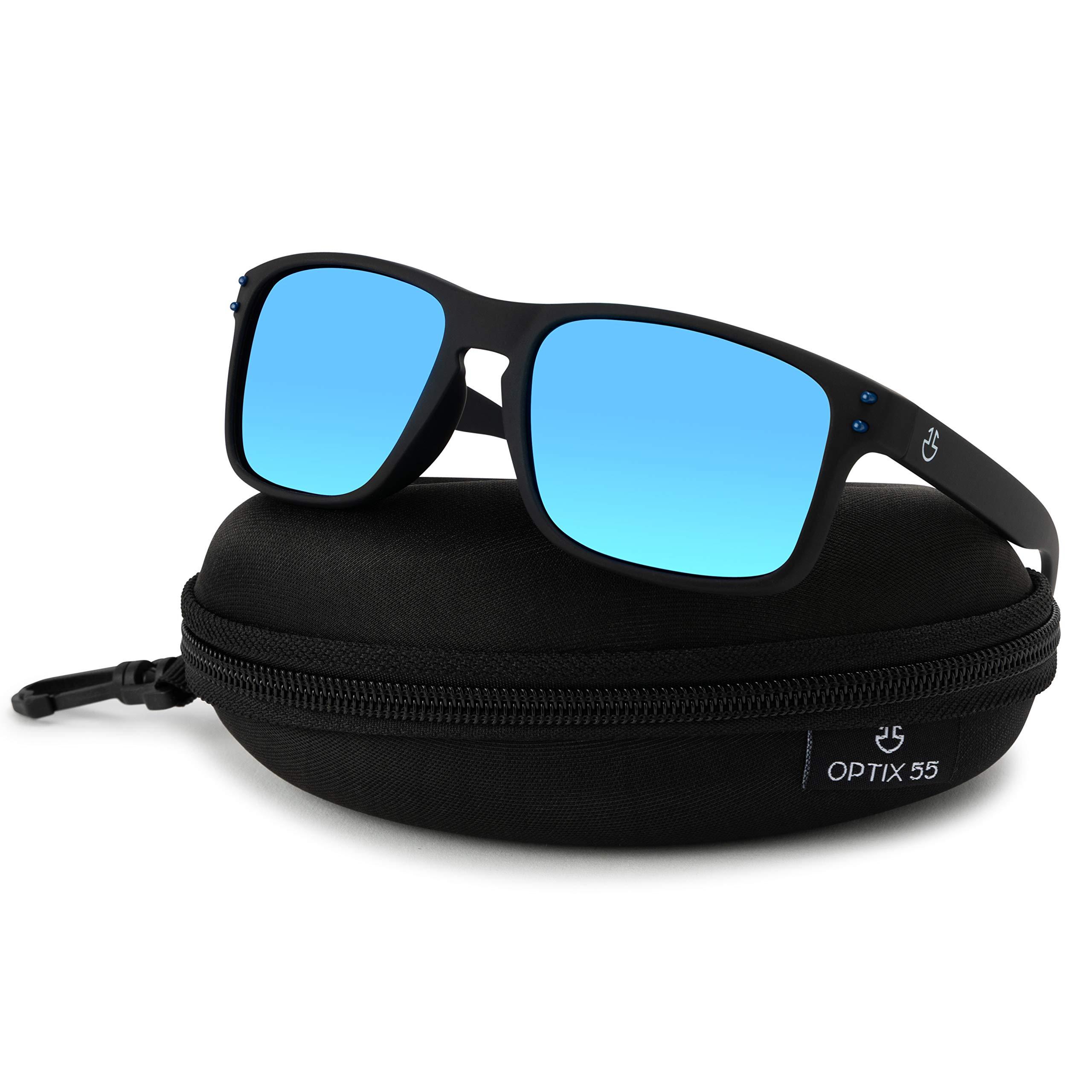 オプティクス55人の男性偏光サングラスレトロサングラス偏光レンズREVOコーティングはボックスを備えたPCのフレームとゴム表面ファッションスクエアメガネで