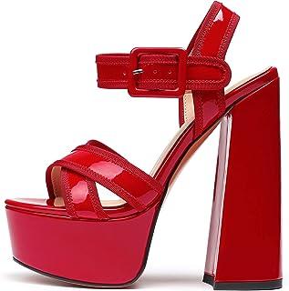 Eldof 女式高跟凉鞋防水台踝带粗跟舒适露趾性感派对鞋浅口鞋
