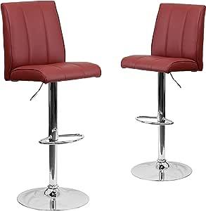 Flash Furniture CH-122090-BLK-GG 现代黑色乙烯基可调节高度*吧凳带镀铬底座