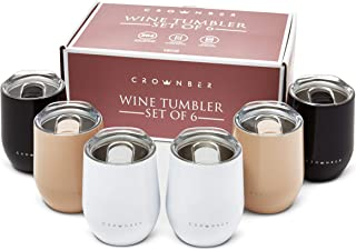 CROWNBER 酒杯玻璃套装 - 6 件 - 黑色,米色,白色 - 不锈钢 - 双层绝缘 - 密封硅胶盖 - 长热和冷却 - 可重复使用无柄杯 - 酒/咖啡/茶/水