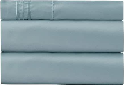 Harmony Sweet 床单套装 - 1800 双磨毛超细纤维床上用品 - 深口袋,低*性 - 防皱、防褪色、防污床单 Blue Hydrangea 两个 XL 603803804631