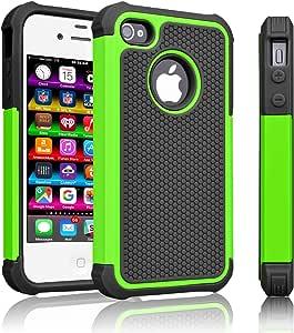 iPhone 5S 5 手机壳,iPhone SE 手机壳,Tinysaturn(TM)[Ysaturn 系列] 混合减震双层耐用抗冲击硬壳橡胶防刮手机壳 适用于 iPhone 5 5S SE 绿色/黑色