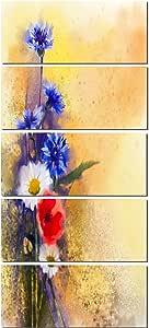 """设计艺术 PT14123-28-60-5PE 5 面板罂粟花和雏菊大号花卉油画艺术品 28x60"""" - 5 Equal Panels PT14123-28-60-5PE"""