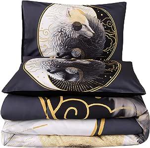 会议故事 3 件套曼陀罗波西米亚月光床上用品被套 狼 Queen