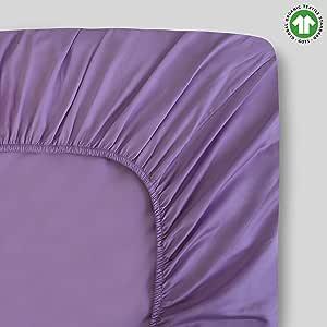 * *棉中号双人床白色床单套装 - 密织织物 - 4 件套 - 300 支 - 经 GOTS 认证 - 透气清爽 - 豪华饰面 - 适合 48.26 厘米深的床垫袋 - 环保 淡紫色 1 Fitted Sheet- Twin XL FDP300