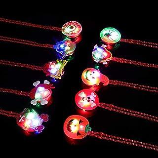 20 件万圣节 LED 项链 12 英寸万圣节 LED 发光项链万圣节派对配饰 10 种图案