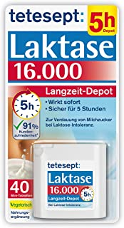 tetesept Laktase 16.000 Langzeit-Depot – Mit 4 Stunden Langzeit-Depot - kontinuierlicher Laktoseabbau in Magen & Darm - wi...