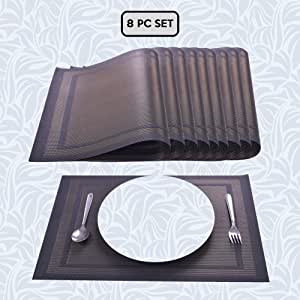 Decozen 餐桌垫咖啡桌餐桌垫8件套餐垫耐热易清洁桌垫包装在可重复使用的拉链袋中 30.48 厘米 X 45.72 厘米 棕色 31404