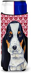 Basset Hound Hearts Love and Valentine's Day Portrait Michelob Ultra Koozies for slim cans LH9149MUK 多色 Slim