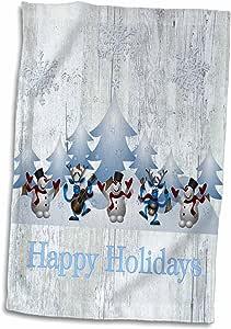 3D Rose 乡村圣诞节图案和驯鹿图案手巾,38.10 cm x 55.88 cm