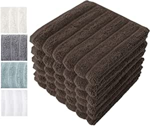 Classic Turkish Towels Combed Cotton Luxury Wash Cloths 13x13 Chocolate Color, Rib Style (Set of 6) Made in Turkey