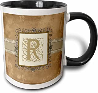 3drose BEVERLY TURNER 首字母设计–首字母 R 复古优雅藤蔓和花卉图案 sepia 和银色外观–马克杯 黑色/白色 11 oz