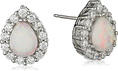 Amazon Collection 美国亚马逊自有品牌 纯银人造猫眼石 立方氧化锆泪状 女士耳钉