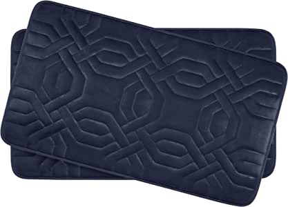 "Bounce Comfort Chain Ring Extra Thick Premium Memory Foam Bath Mat Set of 2 with BounceComfort Technology, 17 x 24"" Indigo"