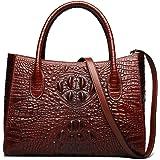 ZOOLER Genuine Leather Handbag Purses for Women Crocodile Embrossed