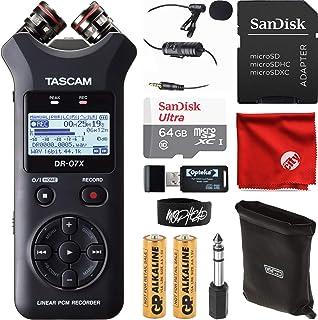 Tascam DR-07X 立体声手持数字音频录音机 USB 接口套装,含 64GB 内存卡,翻领麦克风,电缆扎带,读卡器,超细纤维布