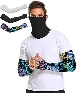 3 对防紫外线冷却臂套 - UPF 50+ 彩色臂套 适合男士/女士/学生运动