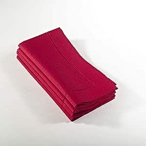 "SARO LIFESTYLE 6100C 24/7 日常系列水绿色下摆餐巾 - 4 件套 红色 20 ""英寸 6100C.R20S"