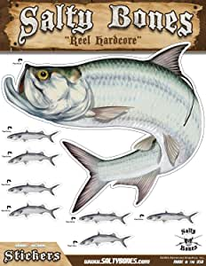 Salty Bones BMEG4010 Large Tarpon Action Decal, 13.5-inches by 10.5-inches