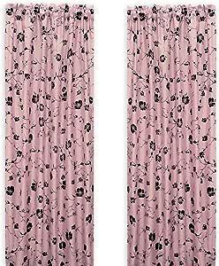Bonavista Home China Blossom Flocked Rod Pocket Panel, Pink, 56-Inch by 84-Inch