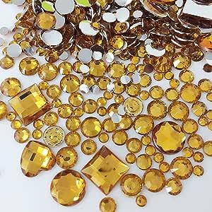 PEPPERLONELY 品牌 1000 件混合尺寸和形状平背莱茵石 2~8 毫米(1/16~5/16 英寸) 2#. Yellow