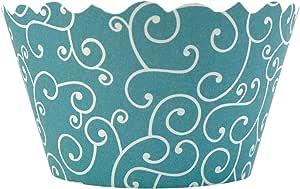 (海蓝色)- Bella couture Olivia 漩涡纸杯蛋糕包装,海蓝色