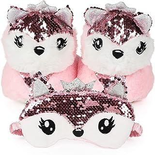 儿童可爱粉色狐狸动物 3D 拖鞋,附赠配套眼罩