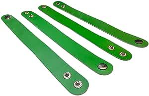 (4 件装)TheAwristocrat 空白皮革手链 DIY 工艺腕带 - 定制和个性化 绿色 TA-AMZ-BLB