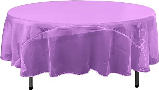LA linen 透明薄纱镜子欧根纱圆形桌布182.9cm