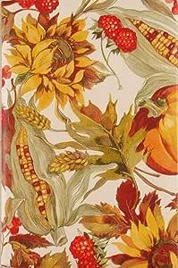"Autumn Harvest Foliage, Fruits and Grains 乙烯基法兰绒背桌布 ""Multi"" 52"" x 70"" Oblong"