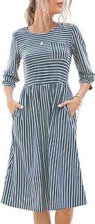 Alice & Elmer 女式棉质春季秋季休闲Baloom 七分袖高腰条纹中长款连衣裙带口袋