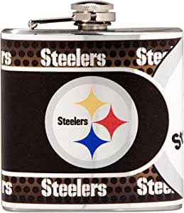 NFL Stainless Steel Hip Flask with Metallic Graphics, 6-Ounce, Silver 银色 6 盎司