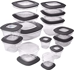 Rubbermaid Premier Easy Find Lids 28-Piece Food Storage Container Set, Grey