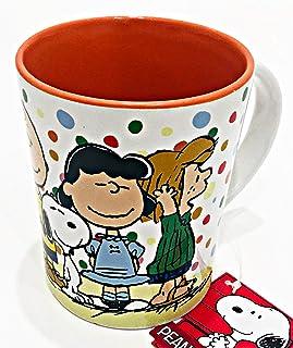 Gibson 的 Peanuts Gang 陶瓷马克杯咖啡茶拿铁带亮橙色内饰