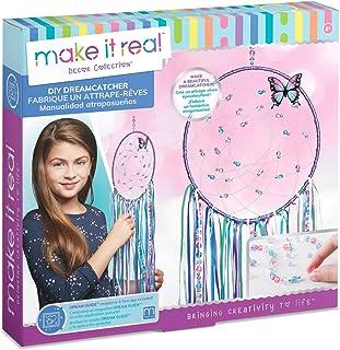 Make It Real DIY 捕梦机。 Make Your Own Dream Catcher 美术和工艺套件,适合补间女孩。 包括 Dream Catcher Hoop、琴弦和丝带、珠子、蝴蝶别针等