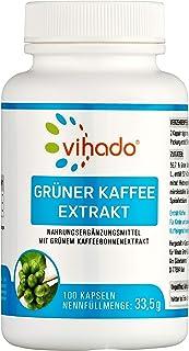 Vihado 绿咖啡提取物胶囊,菁纯绿咖啡提取物,高剂量,100粒胶囊,1件装(1×33.5克)