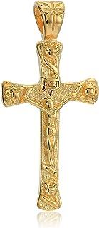 24k 十字架吊坠优雅图像珠宝 - 经典十字架吊坠 24k 金项链 男式