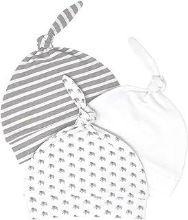 新生儿帽子男孩女孩柔软 * *棉婴儿婴儿无檐小便帽*帽(3 件装)(0-3 个月,灰色,青色,白色)