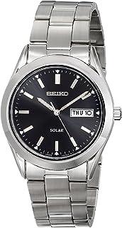 Seiko 男士银色黑色表盘太阳能日历手表