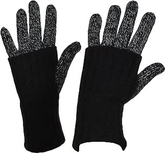 Grandoe 女式羊绒和羔羊毛 WarmTouch 触摸屏针织手套,3 种款式 黑色 中