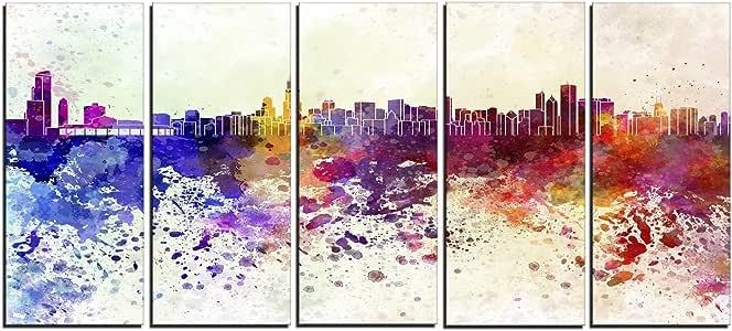 "designart 4Panel "" 芝加哥的天际线 cityscape "" 帆布艺术印刷品"